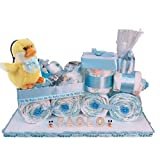 Trenino di pannolini, Torta di pannolini, baby shower, regalo nascita, Nisiky (AZZURRO)