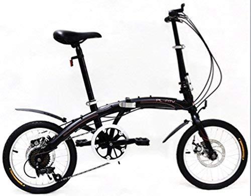 PLENTY Bicicleta Plegable Ligera PORTATIL RIN 16 VELOCIDADES Shimano (Negro)