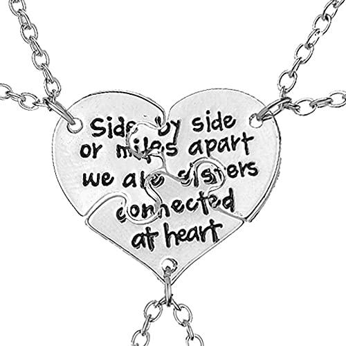 QWKLNRA Collar para Mujer 3 Piezas Corazón Roto Mejores Amigos Collares De Color Plateado Tallados Uno Al Lado del Otro O Millas De Distancia Somos Hermanas Conectadas En El Collar De Corazón Rega