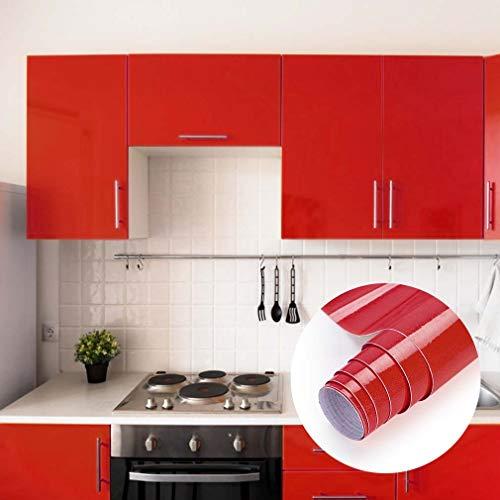 Klebefolie Türfolie Rot Möbelfolie Plotterfolie 0.61 * 5m glänzende mit Glitzer Selbstklebende Folie Küchenschränke Aufkleber küchenfolie auf PVC Ihr Möbel zu Renovieren Dekofolie
