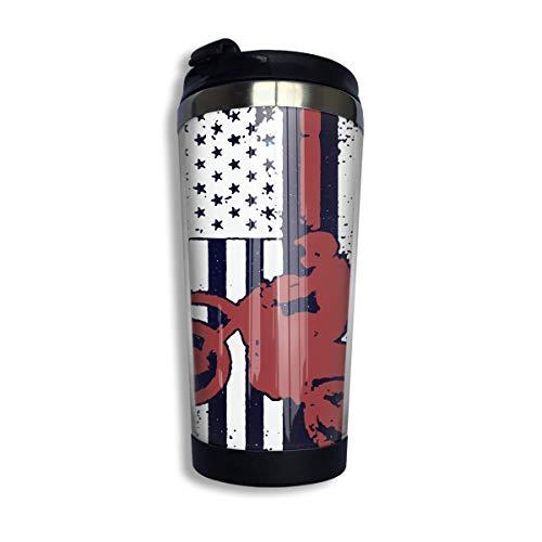 Bandera de Estados Unidos Dirtbike Motocross Taza de café con tapa para té Café Taza de café de viaje Acero inoxidable 400 Ml