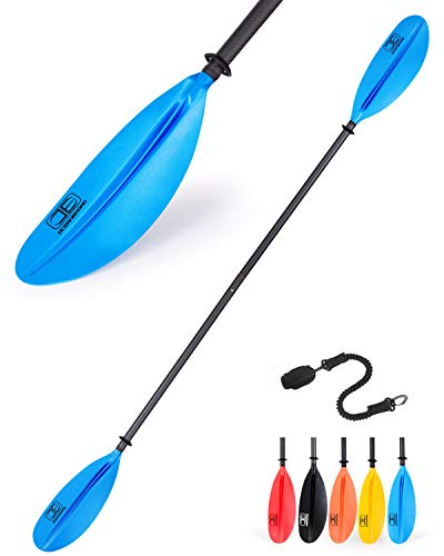 OCEANBROAD Kayak Paddle 230CM/90.5 Inches Premium Carbon Shaft Kayaking Boating Oar with Paddle Leash