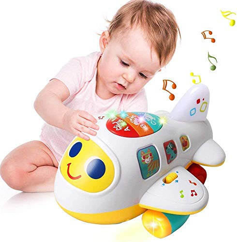 EARSOON CoolToys My First Plane Airplane Toy for Toddlers and Babies for Learning Letters, Numbers and Colors - Lights Up, Sings, and Moves Around