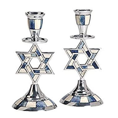 Aluminum Shabbat Star of David Candlesticks with Blue and White Decorative Inlay / Set of 2