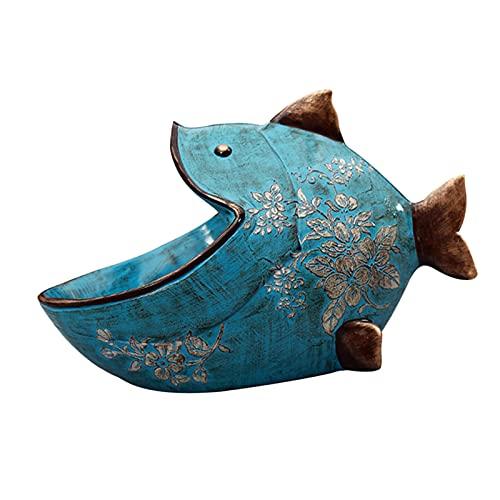 Baoblaze Escultura de Resina Bandeja de Almacenamiento de cabecera, Reloj de joyería Monedas Caja de Joyas, Centro de Mesa de decoración del hogar - Azul