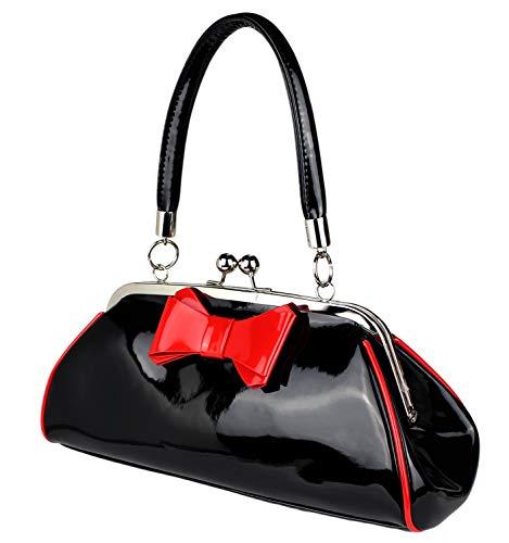 Schompi Damen Vintage Lack-Tasche mit Dekorativer Schleife, Schwarz Rot, Retro, Rockabilly Handtasche Abendtasche, Farbe:Schwarz