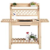 YAHEETECH Garden Potting Bench w/Sliding Tabletop, Wooden Workstation w/Removable Dry Sink, Outdoor Workbench Potting Table w/Open Storage Shelf, Natural Wood