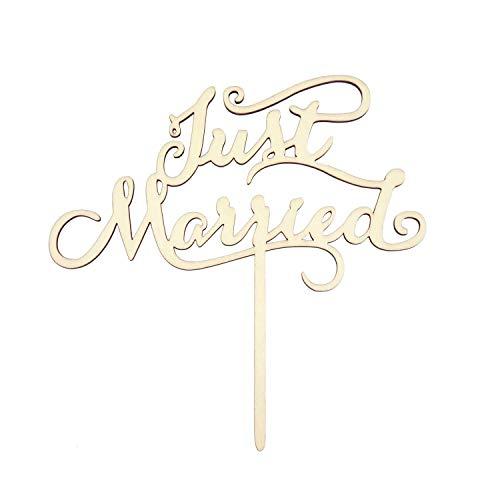 Oblique Unique® Torten Kuchen Topper Aufsatz - Just Married - Holz Dekoration für Hochzeit JGA Junggesellinnenabschied Deko