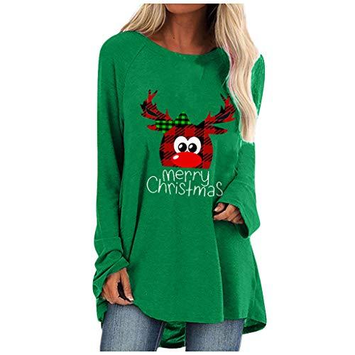 Eaylis Weihnachten Damen Sweatshirt Pullover Langarm Farbvarianten Langarmshirt Pulli ohne Kapuze Baumwolle Baumwollmischung Classic Basic Rundhals-Ausschnitt Sport