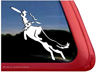 Border Collie Disc Dog Vinyl Window Auto Decal Sticker