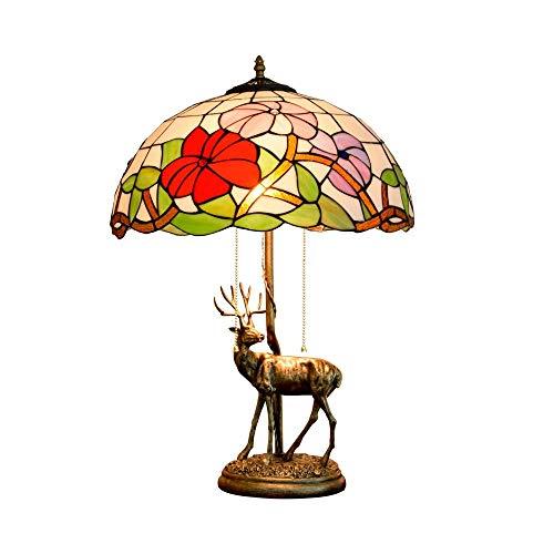 Diseño Personalizado 16 pulgadas de América habitaciones Estilo Elk base creativa gloria de mañana del vitral de estar Restaurante Bar de noche dormitorio lámpara de mesa Lámparas de tabla Crocs