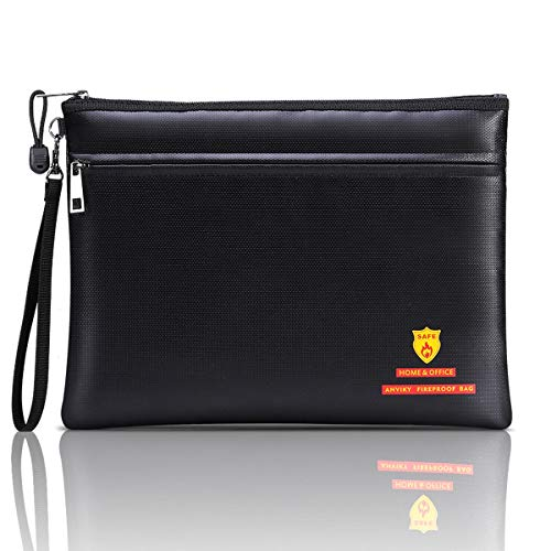 """Anviky Fireproof Document Bags Fireproof Safe Bag""""13.4x10"""" Waterproof and Fireproof Bag for Documents with Strap for A4 Document Holder,File,Cash and Tablet"""