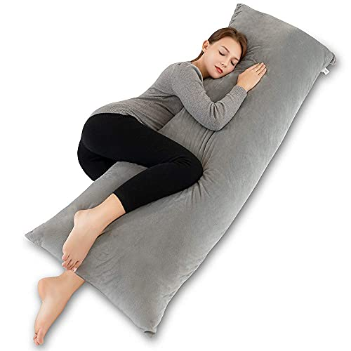 INSEN Full Body Pillow,Pregnancy Body Pillow for Adult and Pregnant Women-with Removable Body Pillow Cover(Velvet Gray)