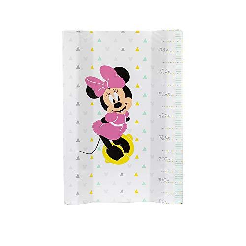 Interbaby Mn013 - Cubrebañeras Disney Minnie Mouse Con Esponja Plastificado 80 Cm, Blanco Y Rosa