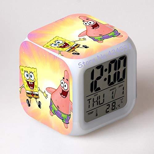 shiyueNB Spongebob Schwammkopf Digital Wecker Farbwechsel LED Uhr Kinder Cartoon Uhr