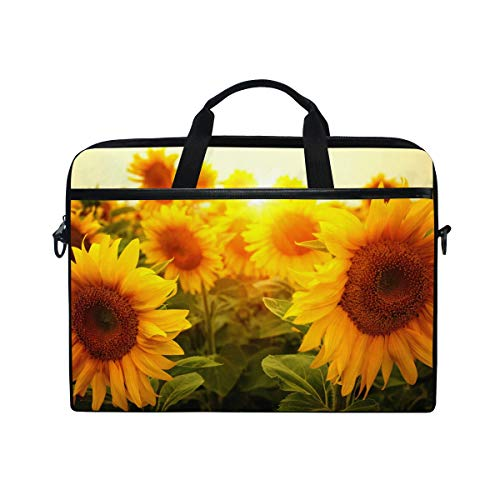 Xling Laptop Handle Bag Colorful Floral Flower Sunflower 14-14.5 Inch Computer Notebook Tablet Protect Tote Bag Case Sleeve