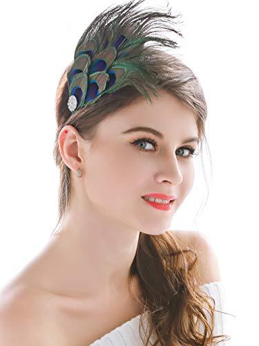 Dusenly Horquilla de pelo de plumas de pavo real de doble capa para vestido de noche,  tocado de plumas de boda,  tocado para mujeres y niñas
