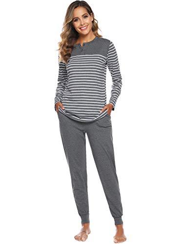 ARBLOVE Pyjama Femmes Hiver Coton Longue Pyjama Ensemble Haut et Bas Vêtement d'intérieur Femme, B-gris Foncé, XXL