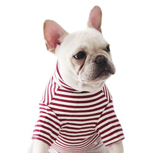 Hondenshirt kleine honden mode strepen T-shirt voor puppy's hemd ademende hondenkostuum Jersey thee katoen voorjaar herfst Franse bulldog kleding zomer middelste honden, X-Large, rood