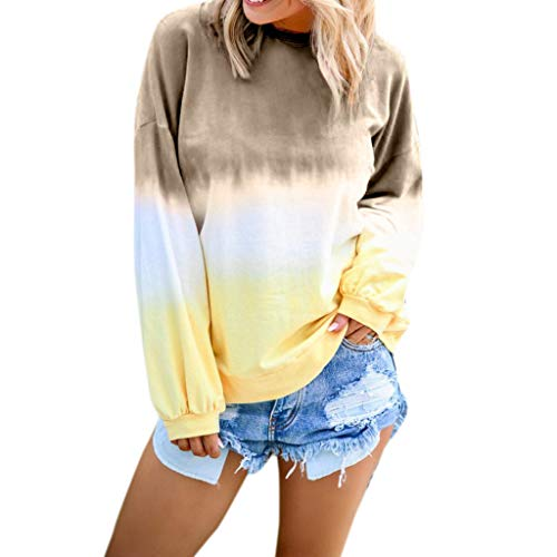 HGWXX7 Women's Casual Gradient Long Sleeve Shirt Tops Pullover Sweatshirt Blouse Plus Size Khaki