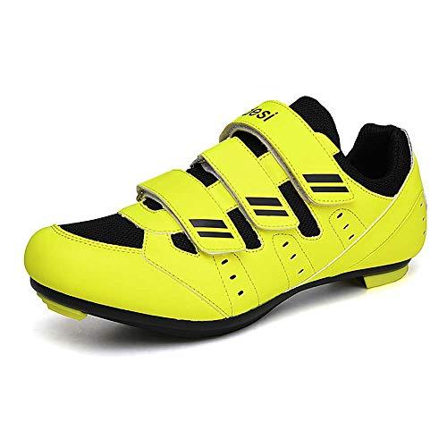 Zapatos de ciclismo para hombres, zapatos de spinning al aire libre, zapatos de ciclismo de carretera 38-46, Green, 36 2/3 EU
