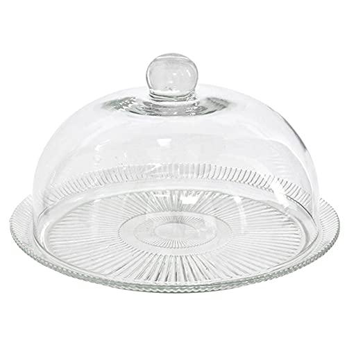 Quesera redonda con base y tapa de cristal 34 x 21 cm, recipiente, soporte, plato, cúpula de cristal transparente para tarta, pasteles, exhibición, eventos, bodas
