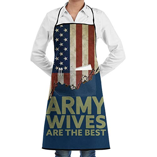 JINGUImao Army Wives are The Best Chef Cooking Apron Bib Apron Kitchen Aprons Baking Apron with Pocket