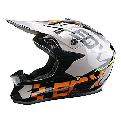 Casco Integral de Moto con patrón EOX, Casco de Moto Todoterreno Infantil,...