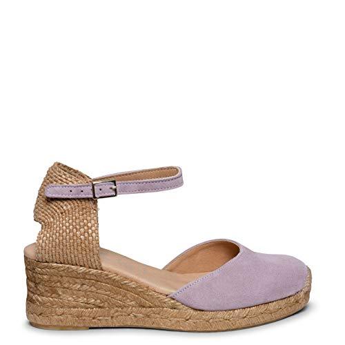 Zapatos miMaO. Zapatos Piel Mujer Hechos EN ESPAÑA. Cuñas Esparto Medias. Alpargatas de Esparto Cuña Cómodas Mujer con Plantilla Gota Ultra Confort Gel