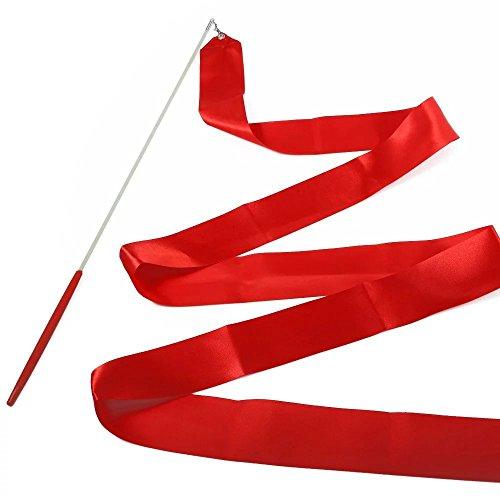 E-Goal 4M Gymnastik-Tanz-Band mit Anti-Rutsch-Lange-Stick aus Metall eingegossenes Kabel-Rot