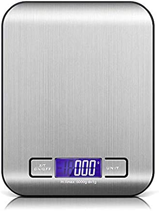 DaZone Digital Food Scales, (5000g, 0.1oz/ 1g) Kitchen Scales, Electronic Cooking Food Scales with LCD Display, Stainless Steel for Easter, Accurate Gram and Slim Design (Black)
