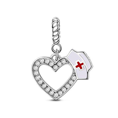 TINYSAND 925 Sterling Silver Nurse Cap with Zircon Love Heart Pendant Charm Fit Europe Bracelet Nurse Day Jewellery