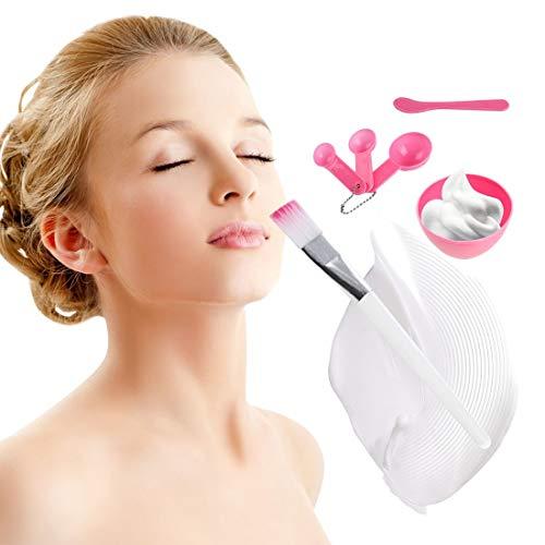 4 En 1 Portable Taille Femmes DIY Masque Facial Outils De Maquillage Pratique Masque Facial Mélange Bol Brosse Cuillère Bâton Outils Set-rose