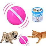 IMYMAX Cats and Dogs Toys Wicked Balls with USB Rechargeable RGB LED Lights Waterproof Smart Interactive Pet Toys Chew Training Ball 100% Automatic Ball to Keep Your Pets Entertained All Day (Pink)