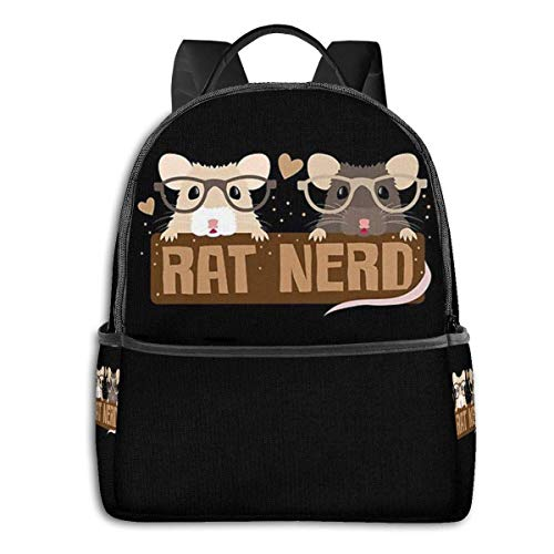 Hdadwy Rat Nerd Backpack Unisex School Daily Backpack Lightweight Casual Travel Outdoor Camping Daypack