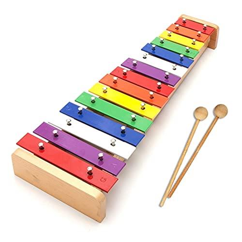 ZDAMN Xilófono 15 Notas Xylophone Piano Instrumento de Madera Música para niños Juguete con 2 mazos para Niños (Color : Colorful, Size : One Size)
