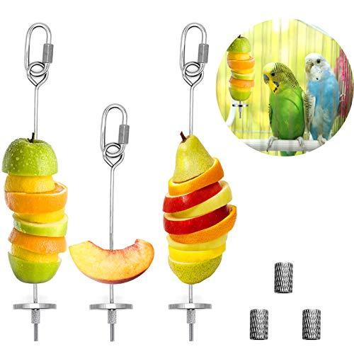 3Pcs Bird Food Holder, Bird Feeder Toy, Stainless Steel Small Animal Fruit...