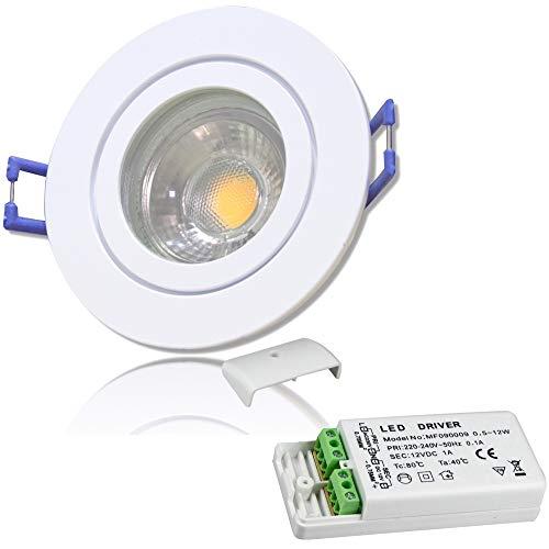LED Bad Einbaustrahler 12V inkl. 1 x 5W LED LM Farbe Weiß IP44 LED Einbauleuchte Neptun Rund 3000K mit Trafo
