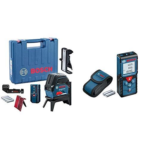 Bosch Professional Kreuzlinienlaser GCL 2-50 (5x AA Batterien, Arbeitsbereich: 50m) & Laser Entfernungsmesser GLM 40 (Flächen-/Volumenberechnung, max. Messbereich: 40 m, 2x 1,5-V Batterien)
