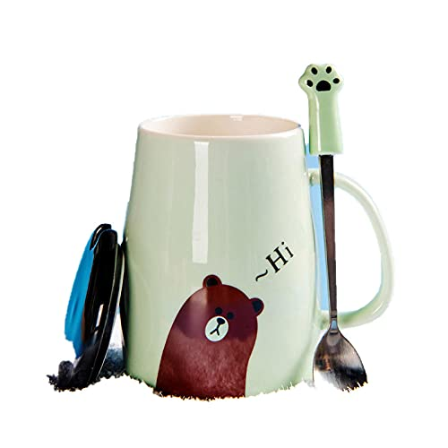 Taza de café taza de garra de gato de dibujos animados con catering una taza de café de cerámica de gato lindo creativo-Matcha green_450ml monocket + cuchara de cubierta