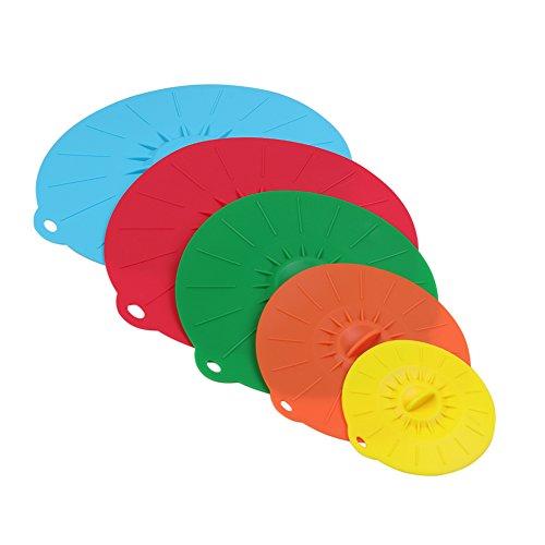 ANPI Coque en silicone Aspiration couvercles, Coque en silicone Réutilisable Coque étanche à la poussière résistant à la chaleur pour bols, tasses, pots, casseroles et poêles, micro-ondes, 5 Taille
