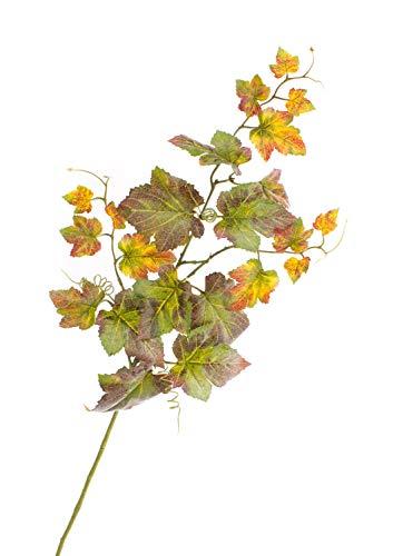 artplants.de Set 4 x Deko Zweig Weinreben Zweig NOAH, grün-rot, 75cm - Künstliche Herbstblätter - Deko Blätter