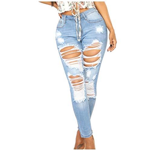 Ghemdilmn Damen Jeans Skinny Jeanshosen Hosen Mit Löchern Zerrissene Einfarbige Jeans High Waist Slim Stretch Straight Hosen Slim Fit Stretch Stylische Boyfriend Jeans