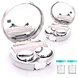 TreaHome 2 Pack Contact Lens Case, Leak-Proof Contact Case Travel with Cleaner Washer Holder Tweezers, Remover Tool Solution Bottle for Outdoor Daily Use(Silver)