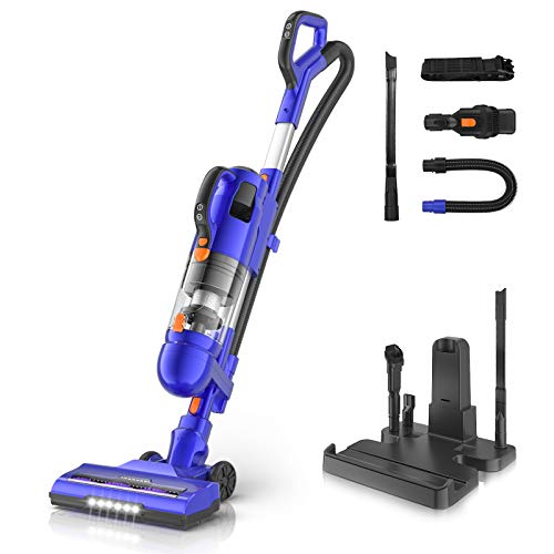 MOOSOO Cordless Vacuum Cleaner, 26Kpa Strong Suction Upright Bagless Vacuum, 50 Min-Running, with H12 Level Upgraded Cyclone Anti-Allergy Seal Filtering, for Pets Hair and Home (Model: U26D)