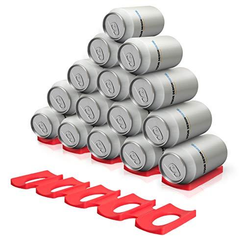 QIXINHANG 2X Flaschenhalter Kühlschrank Silikon Stapelhilfe Flaschenablage Bier Halter für Flaschen und Dosen, Rot (Mehrweg)