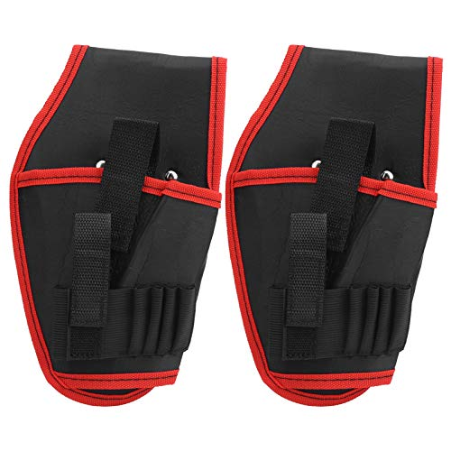 Bolsa de cinturón de taladro eléctrico multifuncional de 2 piezas Bolsa de herramientas de electricista inalámbrica portátil(borde rojo)
