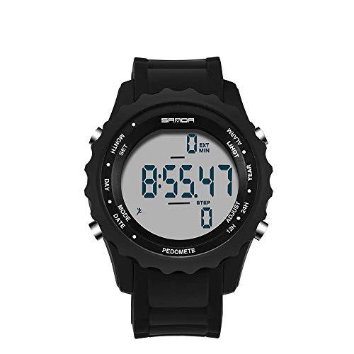 Reloj electrónico digital redondo simple, relojes impermeables al aire libre multifuncionales de moda para hombres, podómetro, senderismo, viajes, ocio, reloj de pulsera, relojes pulsera luminosos LED