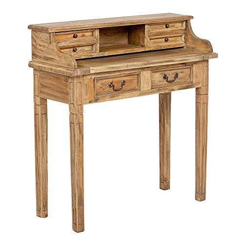 LEBENSwohnART Sekretär Ilena Antique-Natural ca. L100cm Mahagoni Massivholz Schreibtisch Tisch