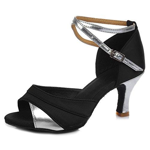 HIPPOSEUS Mujeres Zapatos de Baile Latino Salón de Baile Zapatos de Baile de Boda Tacón Cubano 7 CM,Modelo ESQ803,Plateado Color,EU 37